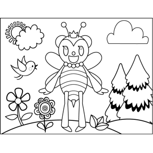 Cute Excited Bee coloring page