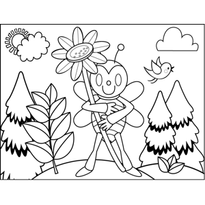Fly with Flower coloring page