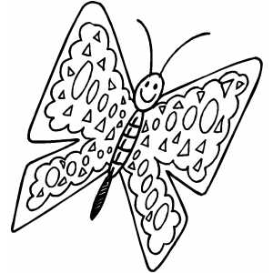 Flying Happy Butterfly coloring page