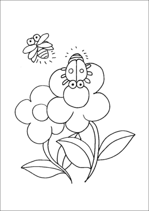 Ladybugs And Flowers coloring page