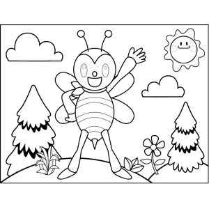 Proud Bee coloring page