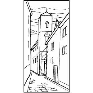 Alleyway coloring page