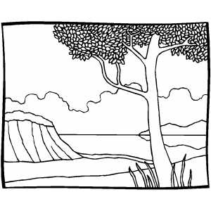 Bay With Tree coloring page