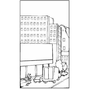 City Street With Cars coloring page