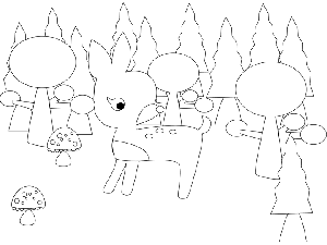 Fawn in Forest coloring page