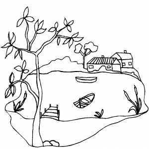 House Near Lake Coloring Page