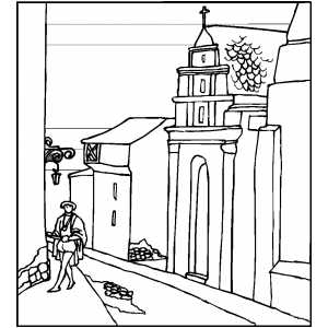 Man In Medieval Street coloring page