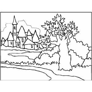 Medieval Town Coloring Page