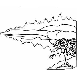 Mountains Behind The Tree coloring page