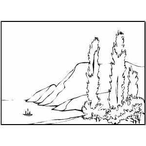 Mountains By Water coloring page