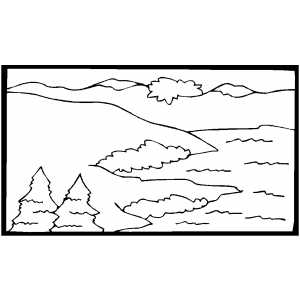 Mountains Near Sea coloring page