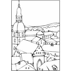 Rooftops coloring page