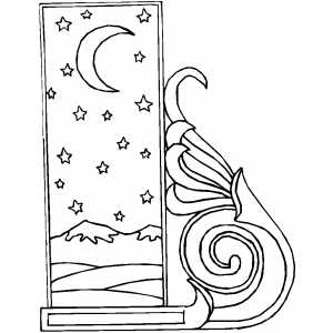 Starry Night Border coloring page