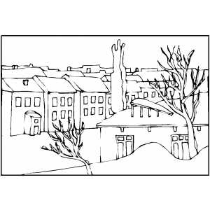 Town In Winter coloring page