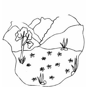 Valley In The Mountains coloring page