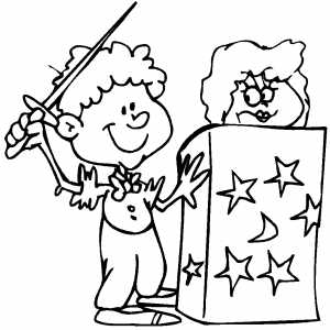 Magician With Assistant In Box coloring page