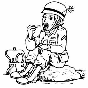 Eating Soldier coloring page