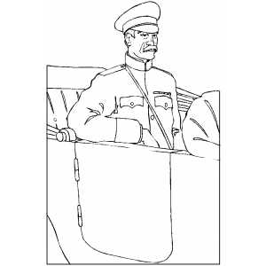 Officer In Car coloring page