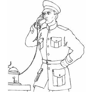 Officer On Telephone coloring page