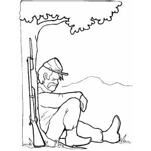 Sleeping Under Tree coloring page