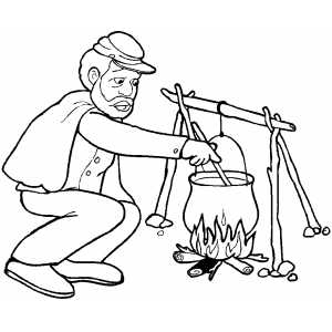 Soldier Cooking coloring page