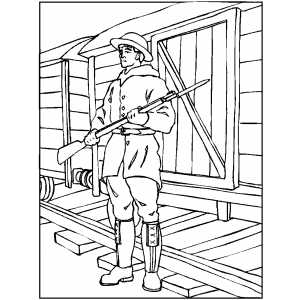 Soldier Guarding Wagon coloring page