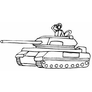 Soldier In Tank Saluting coloring page