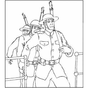 Soldiers Getting To Ship coloring page