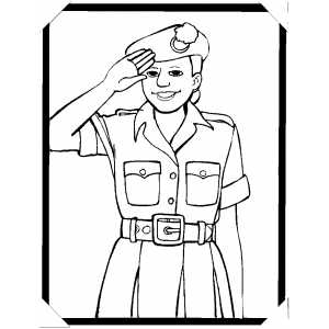 Woman Salute You coloring page