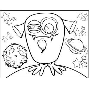 Alien with Goatee coloring page