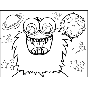 Fluffy Monster coloring page