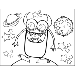 Happy Monster with Horns coloring page