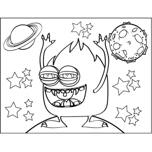 Monster in Space coloring page