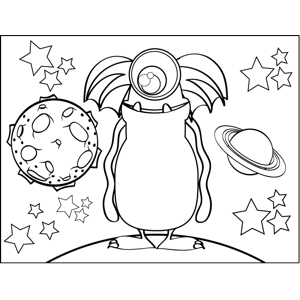 Monster with Fins coloring page