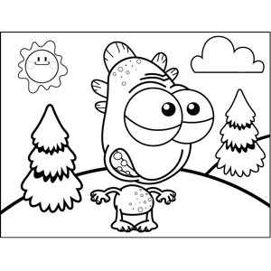 Nervous Monsters with Scales coloring page