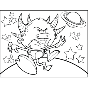 Six-Horned Monster coloring page