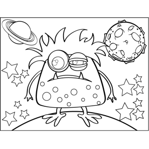 Squinting Monster coloring page