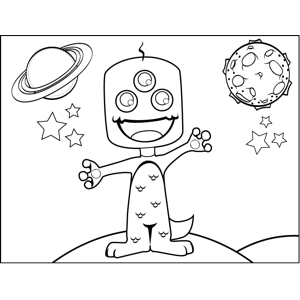 Three-Eyed Space Creature coloring page