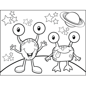 Two Happy Monsters coloring page
