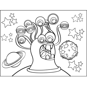 Yelling Bug-Eyed Monster coloring page