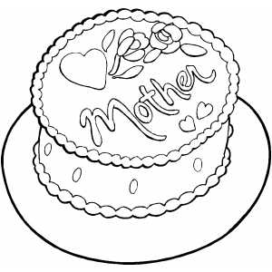 Cake For Mother coloring page