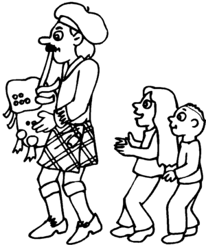 Bagpipe Player With Kids coloring page