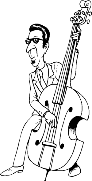Bass Player In Glasses coloring page
