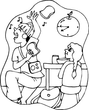 Boy Listening To Music coloring page