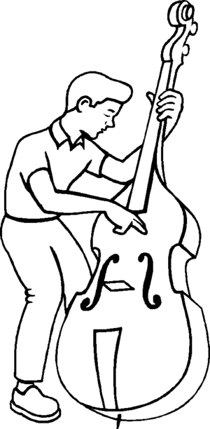 Boy Playing At Bass coloring page