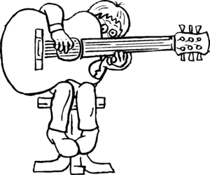 Boy With Big Guitar coloring page