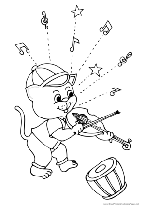 Cat and Fiddle coloring page