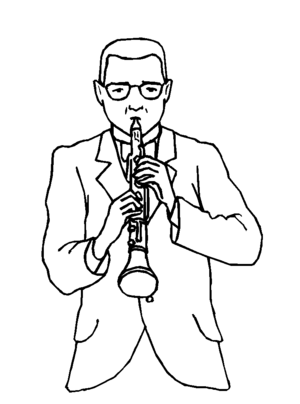 Clarinetist coloring page