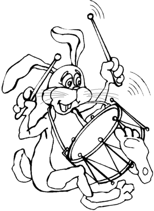 Drummer Rabbit coloring page