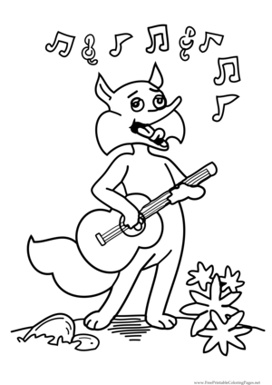 Fox Guitar coloring page